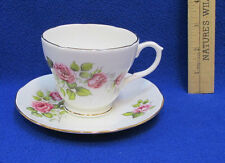 Tea Cup & Saucer Duchess Bone China England Pink Rose Flower Floral White 401