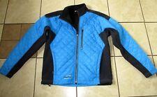 Mens OBERMEYER SKI JACKET Full Zip BLUE QUILT & BLACK SOFT SHELL Fleece Lining S