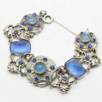 French Art Deco Blue Paste Floral Bracelet, Antique Vintage 1930s Tests Silver