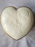 Royal Doulton Bone China Trinket Box Heart Flowers Cream Colored England
