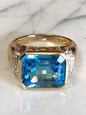 10k London Blue Topaz Emerald Cut 10x12 w/ Diamond Accent Stones Estate Ring