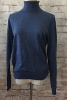 Brooks Brothers Womens L Blue Extra Fine Italian Merino Wool Turtleneck Sweater