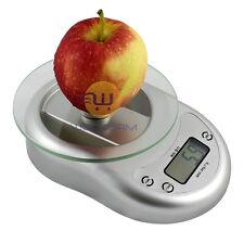 Digital Kitchen Scale Diet Food Weighing Balance Clock Silver 5Kg 1g