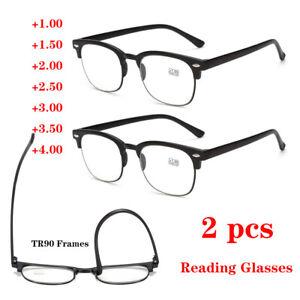 2× Reading Glasses TR90 1.0 1.5 2.0 2.5 3.0 4.0 Half Frame Plastic Spectacles