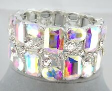 Wide AB Glass Crystal Stretch Bracelet Square Round  Silver Fashion Jewelry NEW