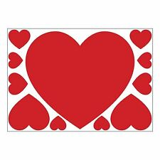 Set of 11 Red Valentine Hearts self-adhesive vinyl stickers (A4 Large)