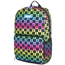 """Fortnite Amplify Multi-Color Checkered 17"""" Backpack School Book Bag Tote New"""