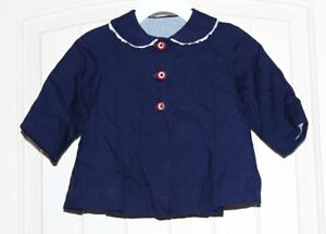 Girls Vintage Navy Blue White & Red Lined Swing Coat Dressy size 12-18m approx.