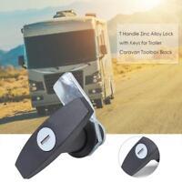 1pc T Handle Zinc Alloy Lock with Keys for Trailer Caravan Toolbox Black