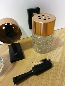 VINTAGE 1950-70'S wall lights in copper and brown wood.