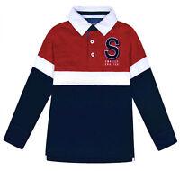 Boys Polo Jumper Top Kids Long Sleeve Cotton School Sweatshirt Top Ages 7-17 Yrs