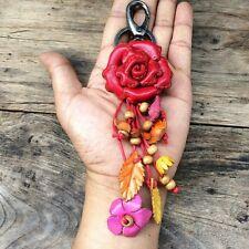 Red Rose Genuine Leather Keychain KeyRing Handmade Flower Charm Purse Floral
