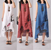 Womens Chinese Casual Loose Cotton Linen Dresses Sleeveless Long Dress Plus Size