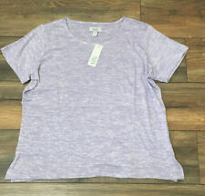 Croft & Barrow Short Sleeve Light Weight SNIT Top Embellished Lilac Heather