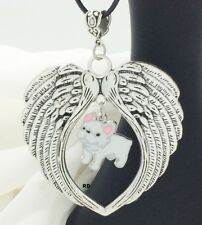 French Bulldog White Puppy Dog Angel Wings Memory Leather Necklace ( Clearance )