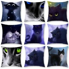 Pillow Case Cushion Cover Cute Black Cat Sofa Throw Waist Home Decorations 18''