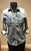 AG Adriano Goldschmied Denim Shirt Distressed Cotton Button Down Womens Sz XS