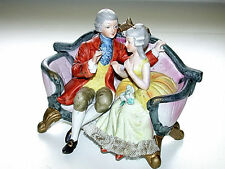 Antique Royal Crown For GUCCI Victorian Couple On Couch Signed Figurine
