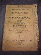 1924 No. 13 International Harvester Parts Manual Corn Planters Cultivators P&O