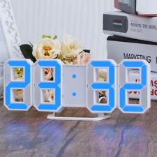 Blau Digital-LED-Tisch Wanduhr Wecker 3D 12/24 Stunden dimmable Snooze Timer