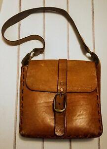 Vintage Bohemian /Hippy 1970s Tan Leather Satchel Bag.