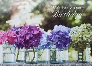 Purple pink and blue Hydrangea flowers in Glass Jar Birthday Card
