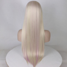 Natural Light Blonde Highlights Pink Purple Straight Lace Front Womens Synth Wig