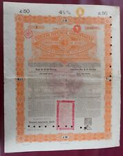 More details for chinese imperial government £50 gold loan 1898 with coupons no 026787