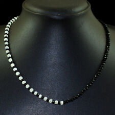 45.00 Cts Natural Spinel & Moonstone Round Shape Faceted Beads Necklace NK 64E98
