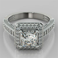 2.43Ct Princess Cut Pavé Engagement Ring 14K White Gold - Matching Band Optional