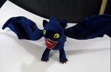 "HOW TO TRAIN YOUR DRAGON Night Fury Dark Blue Poseable Wings Plush Stuffed 17"" L"