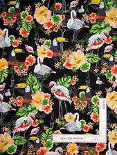 Paradise Flamingo Toucan Bird Black Cotton Fabric Kanvas Studio Ocean Ave - Yard