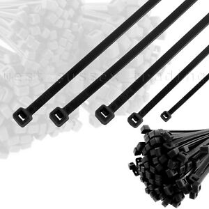 Black Cable Ties. Short, Long, Small, Medium & Large Size Zip Tie Wraps