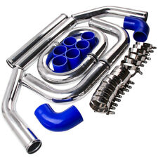 "2.5"" INCH 64MM ALUMINUM TURBO INTERCOOLER PIPING KIT UNIVERSAL PIPES +CLAMP QXPF"