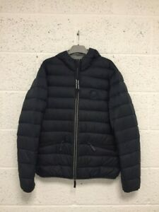 Armani Exchange Down Puffer Jacket - Navy Blue Casual Hooded Coat - Size L