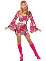 Ladies 60s 70s Retro Go Go Girl Hippy Hippie Mini Fancy Dress Costume S M L XL