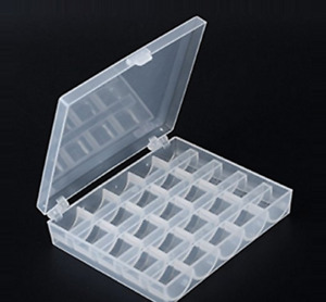 Universal Sewing Bobbin Spool Case Clear 25-Grid Storage Box Container Organiser