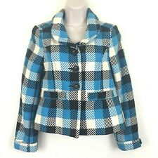 H&M Blazer Jacket Size 6 Brown Blue Plaid Buttons Pockets Lined Cropped Cuffed