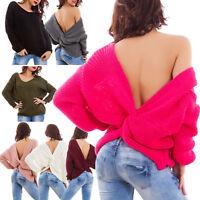 Maglione donna pullover maglia corto nodo dietro schiena nuda nuovo CS-17008