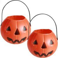 2x Halloween-Deko Helloween Dekoration Kunststoff-Bonboneimer Kürbis ca. 18x15cm