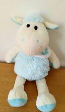 Peluche doudou Mouton bleu  bandana blanc fleur 35 cm ALTHANS