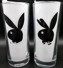 """Vintage Set Of 6.25"""" Playboy Bunny Drinking Glasses Thick Heavy Beer Rare!"""