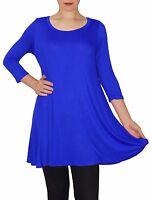 New 3/4 Sleeve Royal Blue Stretch Tunic Top Shirt Blouse Dress S M L Plus Size