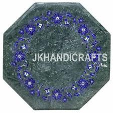 "12"" x 12"" Green Marble top Table Semi Precious Antique Floral Work Home Decor"