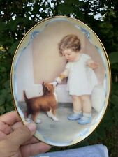Bessie Pease Gutmann Plate Bradford Exchange Oval THE REWARD Jack Russell ❤️sj4j