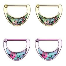 """TROPICAL STYLE INLAY NIPPLE CLICKER RINGS BARBELLS 14g 5/8"""" (Sold in Pairs)"""