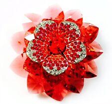 USA BROOCH Swarovski ELMT Crystal PIN fashion Wedding Flower Gold plated Red