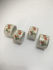 New listing Set 4 Avon Strawberry White Gold Rim Porcelain Napkin Rings Holders Brazil