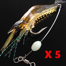 5 Soft Plastics Lures Prawn Shrimp GLOW Bream Flathead Whiting Bass Fishing