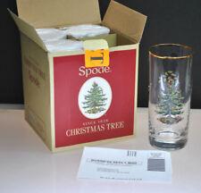 NIB- VINTAGE SPODE CHRISTMAS TREE HIGHBALL GLASSES (4) 15OZ. GLASSES